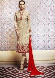 Beige Georgette Party Wear Embroidered Work Salwar Kameez