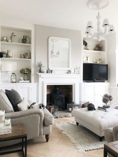 4 Alert Tips AND Tricks: Living Room Remodel Ideas Benjamin Moore small living room remodel thoughts.Living Room Remodel Ideas Diy living room remodel with fireplace couch.Living Room Remodel On A Budget Diy. Victorian Living Room, Cottage Living Rooms, Coastal Living Rooms, Living Room Grey, Living Room Interior, Living Area, Small Living, 1930s Living Room, Kitchen Living