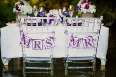 Items similar to Mr & Mrs Wedding Chair Signs (can customize colors) Green Purple Gold: Wedding Banner, Engagement, Wedding Photo Prop, Reception, Decoration on Etsy Mr And Mrs Wedding, Our Wedding, Dream Wedding, Wedding Stuff, Wedding Chair Signs, Wedding Chairs, Wedding Table, Rustic Wedding, Wedding Reception