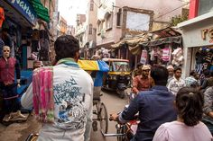Riding back to my hotel on a pedicab through a market in Varanasi India #travel #india On The Go Tours @onthegotours