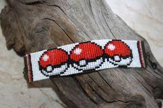 Pokeball Pokemon loom beaded bracelet Geek Nerdy sprite pixel cartoon-made to order