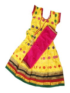 Kids - Kuttys Yellow with maroon half saree  Size: 3 - 4 years , 4 - 5 years Price: Rs 1125 & Rs 1175 Free shipping all over India  http://www.princenprincess.in/index.php/home/product/390/Yellow%20big%20butta%20half%20saree