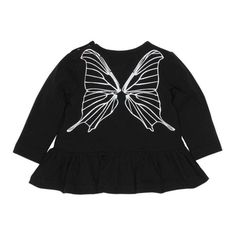 Fox & Finch Butterfly Wing top in black with silver butterfly on the back. Perfect to match with the Fox & Finch silver pants. Love You Babe, Black Tops, Black And White, Butterfly Wings, Color Blocking, Monochrome, Baby Gifts, Fox, Gift Ideas