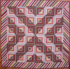 Chevron setting. Calico fabrics of the 1870's and 80's. Adams County, Pennsylvania origin. 82 inches square.