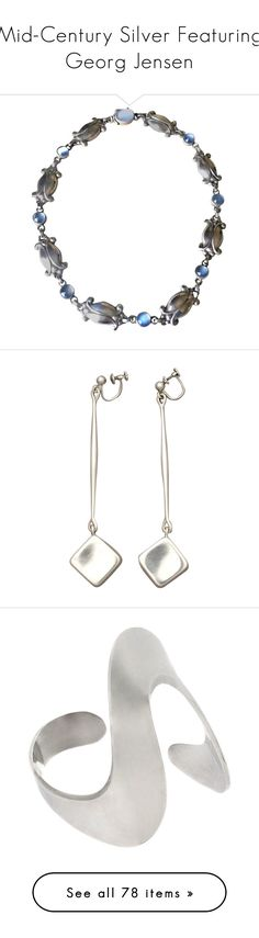 """Mid-Century Silver Featuring Georg Jensen"" by kellymailinglist ❤ liked on Polyvore featuring jewelry, brooches, accessories, none, pre owned jewelry, vintage broach, 1920s jewelry, vintage jewellery, dot jewelry and necklaces"