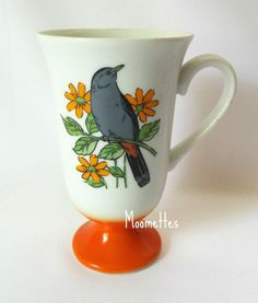 #Oriole Coffee Mug Birds Ornithology Fred Roberts Orange Pedestal Cup Retro 60s Vintage