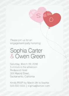 Heart balloon engagement party invitations are great for any engagement party celebration. Two heart shaped balloons with the initials of the new couple. More at http://superdazzle.com