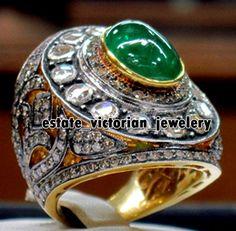 Vintage 4.63Cts Rose Antique Cut Diamond Emerald Silver Stunning Ring Jewelry #estateVictorianJewelery #FiligreeDiamondGemstoneCocktailsRing