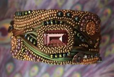by VickyRobertsDesigns Ribbon Jewelry, Beaded Jewelry Designs, Soutache Jewelry, Jewelry Art, Shibori, Embroidery Bracelets, Beaded Embroidery, Beaded Cuff Bracelet, Bead Art