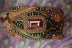 'Aurora' shibori silk cuff. Design by Victoria Roberts.