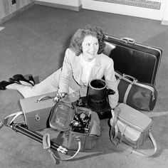 LIFE photographer Margaret Bourke-White and her camera.