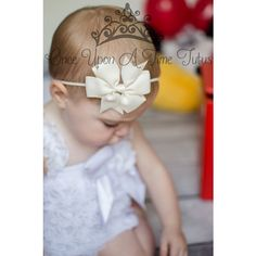 Ivory Grosgrain Ribbon Bow Summer Spring Photo Prop Newborn Baby... ($2.99) ❤ liked on Polyvore featuring accessories, grey, hair accessories and headbands & turbans