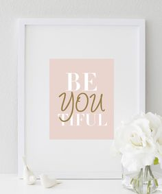 A lovely reminder that you are beYOUtiful on the inside and out | Print | Printed - Quotes | Printables | Print for walls | Print design
