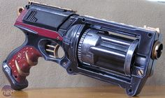 Some inspiration to how I want to mod my Nerf Maverick. I will probably use a metallic black instead of the blue and silver/white instead of gold to get a Mass Effect feel.