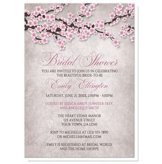 I wanted to share with you these Rustic Cherry Blossom Pink Bridal Shower Invitations? Do you like them?  | Rustic cherry blossom bridal shower invitations featuring an illustration of pink and white with dark brown cherry blossom branches. This floral pink cherry blossom design is along the top of the invitations over a stony grayish brown almost marble-like texture background image. These invitations are beautiful and elegant. The pink floral design makes these invites a pretty choice for…