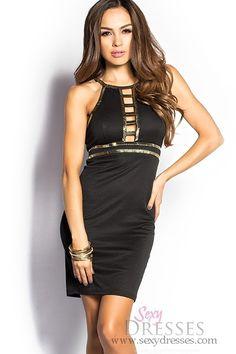 Lexi Black and Gold Cage Back Studded Halter Dress