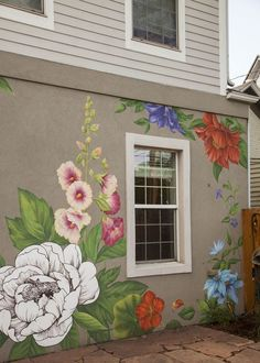 Murals by Yulia Avgustinovich at Private Residence, Denver – Flower Wall Mural Related posts:Brighten up your interior with our Anemone Floral Wall Mural. This cheerful wall.A DIY Geometric Wall Mural with BEHR PaintOne For The Dreamers Wall Mural Decal Mural Floral, Flower Mural, Floral Wall, Mural Wall Art, Painting Murals On Walls, Painted Wall Murals, Wall Murials, Painted Fences, Fence Painting