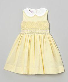 Loving this Yellow Seersucker Smocked Dress - Infant, Toddler & Girls on #zulily! #zulilyfinds