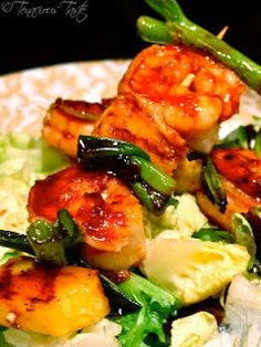 Spicy Soy Glazed Shrimp Skewers w/ Grilled Pineapple & Green Onions   Sponsor by http://VIPsAccess.com/luxury-hotels-caribbean.html