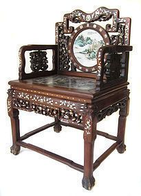 Elegant Chinese Antique Pair Of Hardwood Chairs With Porcelain