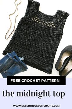 Midnight Top—Free Crochet Along Part 1 - Crochet Gratis, Free Crochet, Knit Crochet, Crochet Stitches, Crochet Patterns, Skirt Patterns, Crochet Ideas, Foundation Single Crochet, Crochet Summer Tops