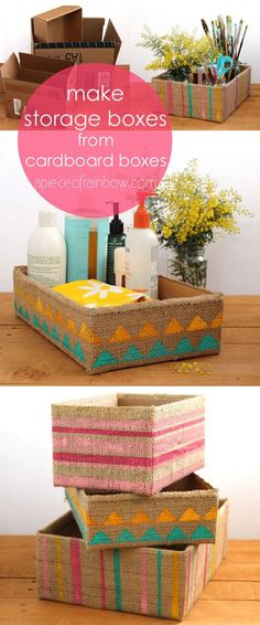 Gorgeous Farmhouse Boho 5 Minute DIY Storage Boxes Make beautiful storage box from up-cycled cardboard box and burlap coffee bean bags! Super easy tutorials on 3 variations. - A Piece Of Rainbow Cute Storage Boxes, Craft Storage, Storage Ideas, Cheap Storage, Shoe Storage, Storage Organization, Home Crafts, Diy Home Decor, Diy And Crafts