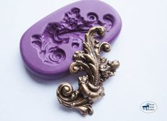 Flower and Leaf Flourish Mold/Mould - Elegant Art Nouveau Victorian Cake Decorating Mold - Silicone Molds - Polymer Clay Resin Fondant