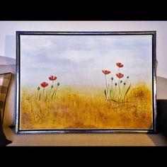 Roter Mohn Acrylbild auf Leinwand, Keilrahmen im Schattenfugenrahmen. Handgemalt, Original, Unikat Painting, Art, Poppy, Canvas Frame, Idea Paint, Canvas, Art Background, Painting Art, Kunst