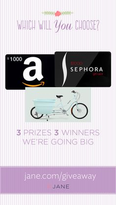 What do Madsen Cycles, a $1,000 Amazon Gift Card and a $1,000 Sephora Gift Card have in common? Well nothing exactly, but we are choosing 3 lucky ladies to choose which of these amazingly fabulous gifts they want to have in their wallet... errr, garage.  Since it's Mother's Day this week, we thought it would be fun to spoil our Jane ladies! **Click through to enter**