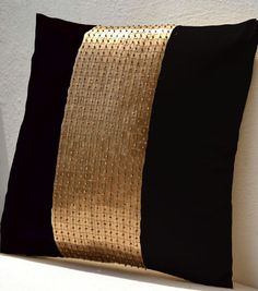 Throw Pillow covers Black gold color block in silk by AmoreBeaute