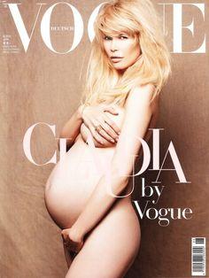 Kourtney Kardashian Pregnant Caudia Schiffer Vogue Cover Baby Bump