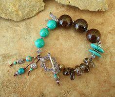 Cowgirl Chic Bracelet Rustic Turquoise Bracelet by BohoStyleMe