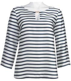 ab888ee985e Misses Evan Picone Keyhole Neckline Striped Top. Button Down Shirt