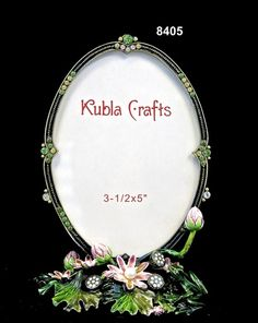 Frame/FrogBrass/Pewter  Glass Enameled  White Pearls  Swarovski Crystals/Austrian Crystals  Handmade in Asia $54