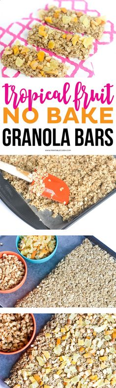 This Tropical Fruit No Bake Granola Bar recipe is great for breakfast or after school snacks! Its seriously the BEST granola bar ever! You can also download these cute lunch box printable gift tags to go with these!