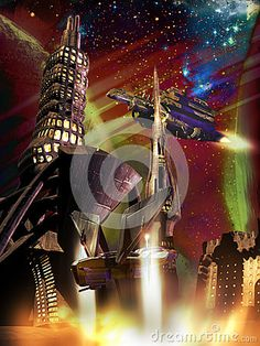 Futuristic city on a far planet or satellite.