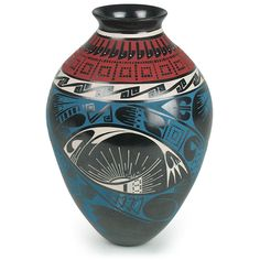 """This intricately painted sun vase combines native design elements and flowing shapes to create a unique pottery piece. Add this hand painted Mata Ortiz vase to any southwest decor or pottery collection. Each vase is signed by the artist. 6.5"""" Dia. x 9"""" H $184.00"""