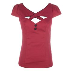 Strut your stuff in this fitted burgundy top . It has ruched cap sleeves and criss cross panels adding detail and drawing attention to the bust and accentuating your cleavage. A black piping lines the hem around the bust which matches with two black buttons. This top would look great with skinny jeans or an a-line skirt.   Turn Inside out, machine wash cold, line dry.