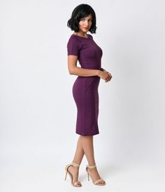 Stand out at your next event with this gorgeous retro-inspired dress from Unique Vintage. Our 1960s Eggplant Short Sleev...Price - $48.00-F6daTJRq