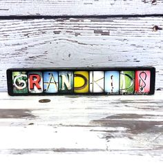 These GRANDKIDS wood signs featuring my bright colored original photo letters make great gifts or sweet pieces for your own home décor.