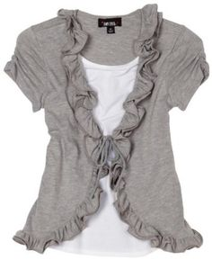 Idea for t-shirt transformation: Amy Byer Girls Two-fer Wire Ruffle Front Cozy Tee, Grey, X-Large Look Fashion, Diy Fashion, Womens Fashion, Diy Clothing, Sewing Clothes, Flax Clothing, Recycled Clothing, Vintage Clothing, Tops Bonitos