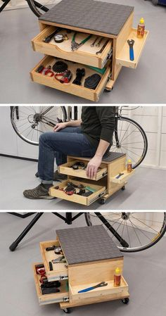 Whether youre building a DIY project or working on something else sometimes  - Storage Cart - Ideas of Storage Cart #StorageCart -  Whether youre building a DIY project or working on something else sometimes its great to have a place to sit while you work. This rolling work seat lets you work in comfort and still move around easily plus it offers storage drawers and a small shelf to hold the tools and supplies you need. #WoodworkingFurniturePopularMechanics Wood Shop Projects, Woodworking Projects Diy, Woodworking Furniture, Wood Furniture, Woodworking Plans, Workbench Plans, Woodworking Jigsaw, Workbench Stool, Garage Workbench