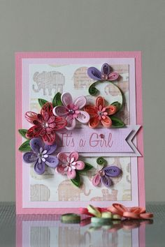 """Handmade Pink Paper Quilling """"It's a Girl"""" Card with Amazing Flowers (Christening, Confirmation, Birthday) by FromQuillingWithLove"""