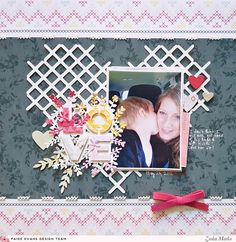 Hello there crafty peeps, Zsoka Marko stopping by to share a new layout I've created for the Paige Evans Design Team. Scrapbook Page Layouts, Scrapbook Pages, White Gel Pen, Cross Stitch Heart, White Embroidery, Gel Pens, Pattern Paper, Cross Stitch Patterns, My Photos