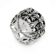925 Pure Silver Chrome Hearts Cemetery Cross Floral Ring Cheap