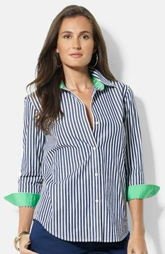 Lauren Ralph Lauren Stripe Cotton Shirt I have this one in orange with white stripes and the large circular logo and in breast cancer awareness pink and white with the monogrammed logo. Both were under $10.