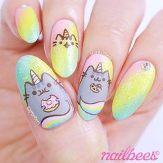 My Pusheen Unicorn nail art! Watch the video on how I created these Pusheen Unicorn inspired nail art. Unicorn Nails Designs, Unicorn Nail Art, Kawaii Nail Art, Cute Nail Art, Hot Nail Designs, Animal Nail Designs, Nail Art For Kids, Animal Nail Art, Broken Nails
