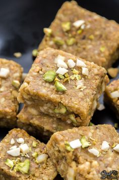 Indian sweet (fudge) made with pistachios and almonds. Find the recipe on…