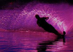 On the Edge, by Barbara St. Jean, Saint Jean Art Gallery #water-skiing #Water #hot-pink