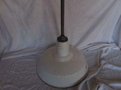 Vintage Barn Light Industrial antique old gas station porcelain shade pendant